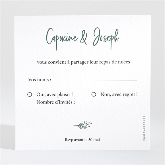 Carton réponse mariage Trésor en médaillon réf.N3001681