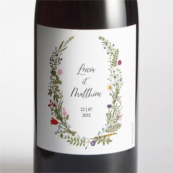 Etiquette de bouteille mariage Gravure Champêtre réf.N3001686