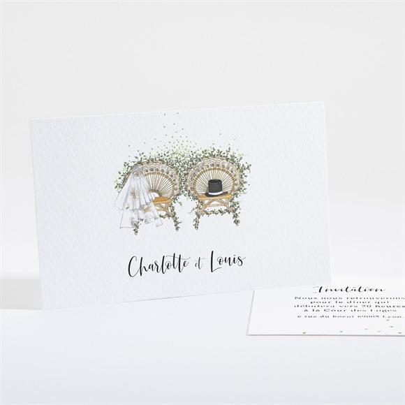 Carton d'invitation mariage Fusion Champêtre réf.N161179