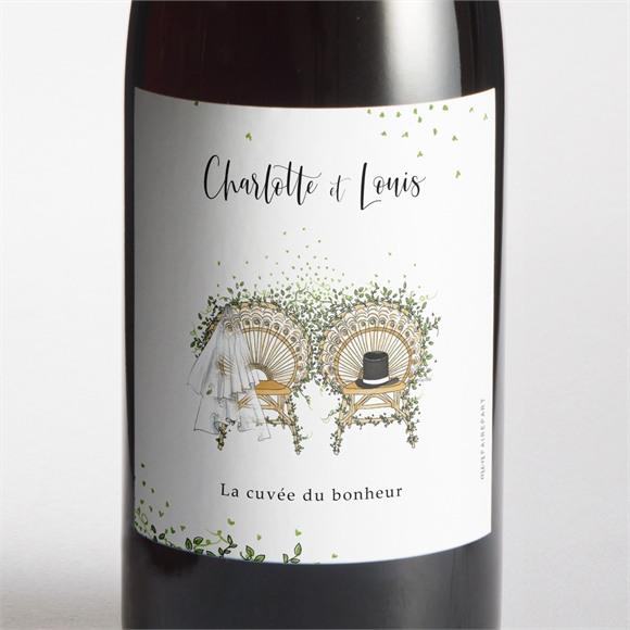 Etiquette de bouteille mariage Fusion Champêtre réf.N3001730