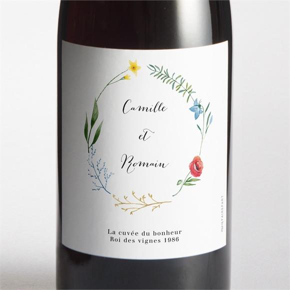 Etiquette de bouteille mariage Fleurs des Champs réf.N3001745